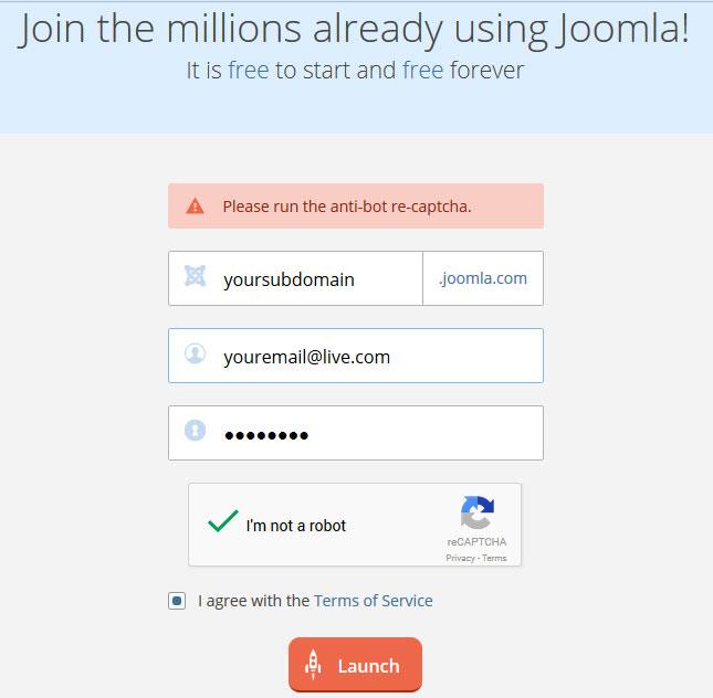 Free joomla subdomain