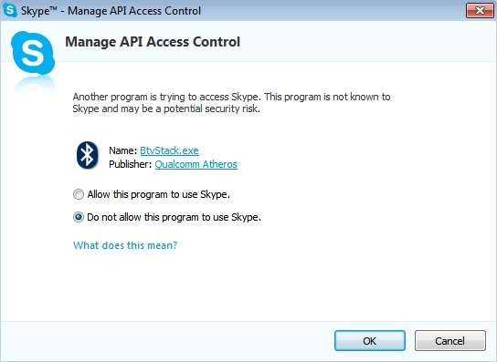 skype advanced settings other programs access api access control