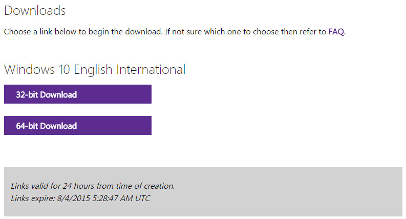 download 32 or 64 bit ISO of windows 10 direct link