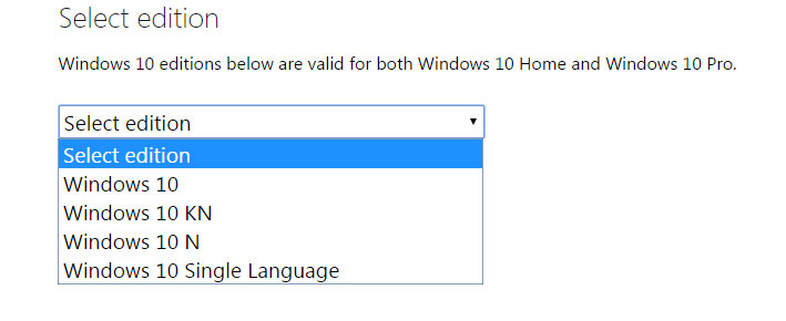 select edition for windows 10 iso download