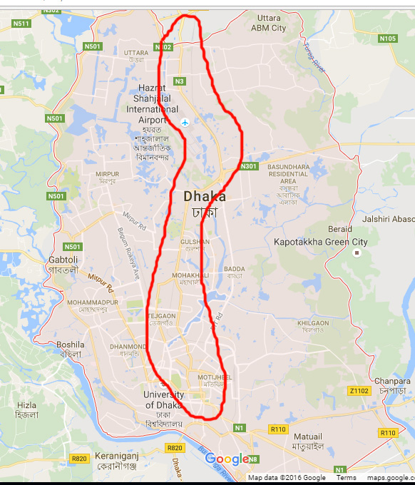 Dhaka city Only one main road connecting North South