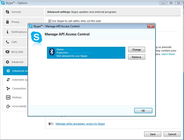 skype advanced settings other programs access