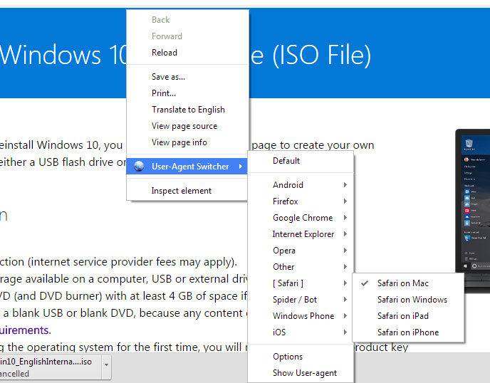 Chrome user agent switcher extention