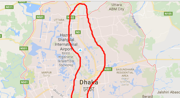 dhaka city airport road