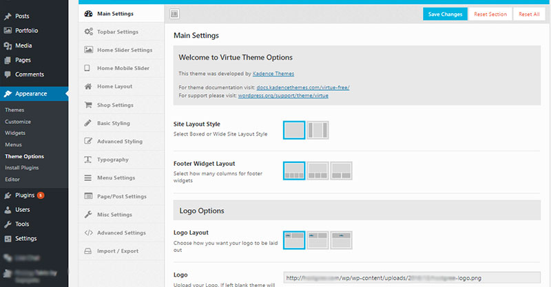 virtue theme options wordpress dashboard