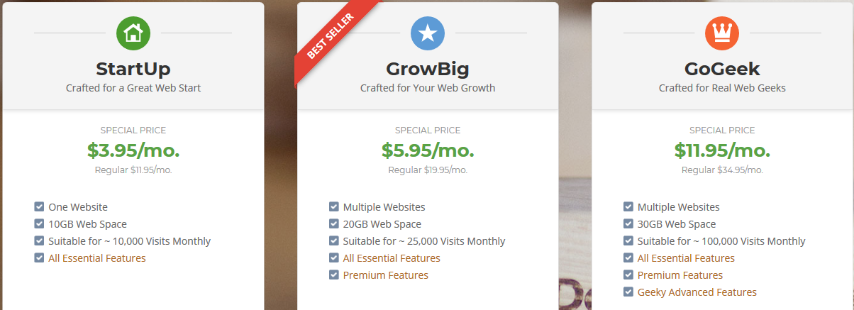 shared hosting packages of siteground