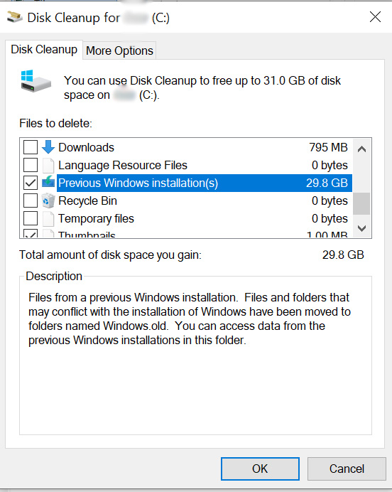 disk cleanup delete system files old windows