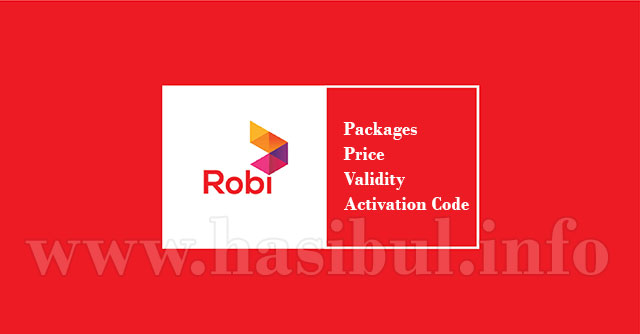 robi internet packages price validity activation code