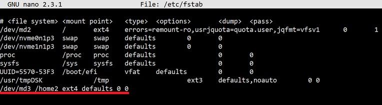 edit etc fstab to save the storage volume home2